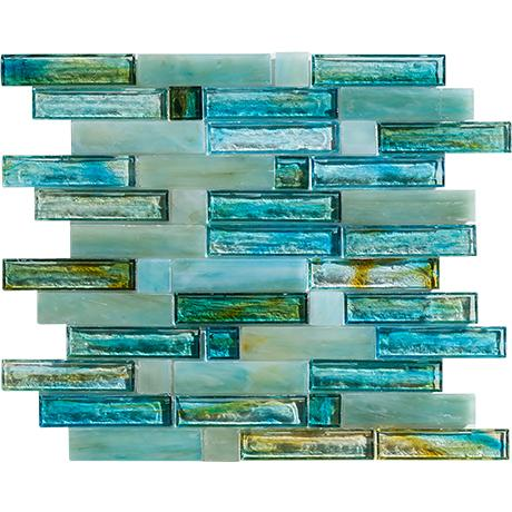 "Glass tile in ""Blue Beach Glass"" from Marazzi's Caicos collection"